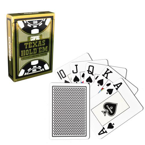 Carti de joc poker, Texas Hold'em, profesionale, 100% plastic,  index mare, culoare spate negru