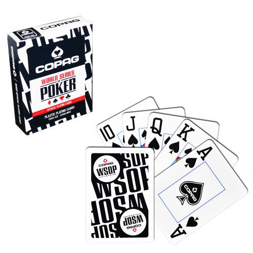 Carti de joc poker, oficiale World Series of Poker - WSOP, de competitie, 100% plastic, index mare, culoare spate negru