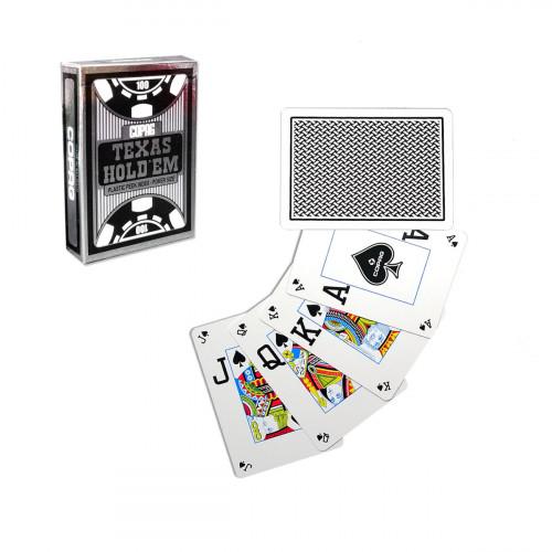 Carti de joc poker, Texas Hold'em, profesionale, 100% plastic, index mare + peek Index, culoare spate negru