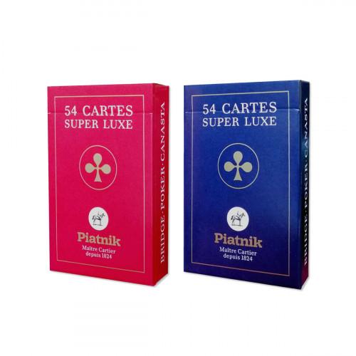 """Set carti de joc Piatnik """"Super Luxe"""",  2 pachete a 55 de carti + 3 jokeri, figuri cu grafica in stil francez"""
